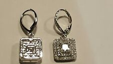 1.25 CARAT TOTAL WEIGHT EACH PRINCESS CUT CLEAR CZ HALO LEVERBACK EARRINGS