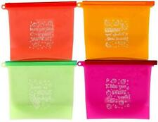 4-Pack Reusable Silicone Food Storage Preservation Bags