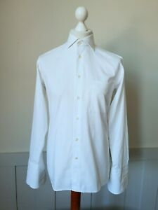 Vintage 1990s Double Cuff Shirt in White Cotton Blend Cutaway Collar *15/M* TJ95