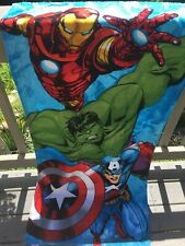 "Marvel Avengers Iron Man Hulk Captn America Beach Towel Pool Bath Cotton 28""X58"""