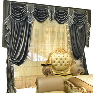 Custom European Simple grey French velvet embroidered lace curtain N043