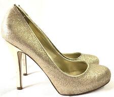 Ivanka Trump Womens Gold Heels Pumps Sz 9.5 Glitter Metallic Stiletto Party Club
