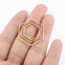 40Pcs Raw Brass Geometric Hexagon Charms Pendants DIY Jewellery Necklace Earring