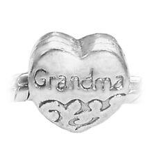 Grandma Heart Grandmother Family Granddaughter Charm for European Bead Bracelets