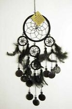 BEAUTIFUL 11.5cm BLACK 5 WEB DREAMCATCHER WITH FEATHERS & SHELL DISCS**