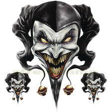 DECAL GRAPHIC MOTORCYCLE WINDSCREENS Air Brush Jester skull clown biker joker