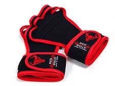 Workout Fitness Gloves Redline Wristwrap Weight Lifting Training GYM Grips Pads