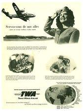 Publicité ancienne voyage avion TWA 1942 issue de magazine