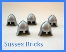 Lego Castle - 5x Metallic Silver Helmet Nose Protector Knights - New Pieces