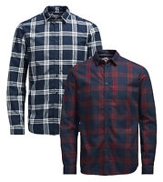 JACK & JONES Long Sleeve Shirt New Mens Slim Fit Check Casual Smart Sope Shirts