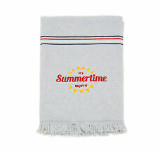 LARGE DOUBLE SIDE FOUTA TERRY COTTON BEACH TOWEL STRIPES GREY - SUMMERTIME