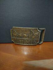 "1975 Marlboro Brass Belt Buckle – Nice Condition  3.125"" x 2.375"""