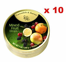 10 x 200g CAVENDISH AND HARVEY MIXED FRUIT DROPS C&H CANDY LOLLIES LOLLY SWEETS