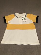 first impression baby boys polo shirt white blue yellow infant 18 months new