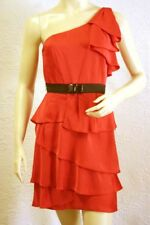 $318 BCBG CORAL PASSION (EFF6E572) TIERED ONE SHOULDER DRESS NWT 12
