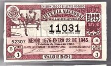 MEXICO LOTTERY TICKET 1945 Jan 22 Soccer/FUTBOL Players Dk Red EXPIRED! Ppd-USA