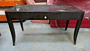 Dark Brown Wood Desk with One Drawer with Teal Drawer Interior and Glass Knob