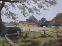 WATERCOLOUR SUSSEX FARM ARTIST WILFRED CLAYFIELD FREE SHIPPING ENGLAND