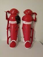 Easton Mako Softball Fast Pitch Catchers Equipment Gear Leg Guards Red Adult