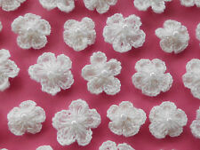 100! Crochet Wool Flowers With Pearls - Lovely Soft White Flower Embellishments!