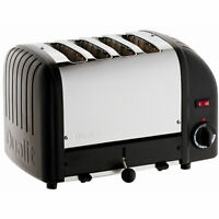 Dualit Classic Vario Four Slot Toaster 4 Slice Black and Stainless Steel Finish