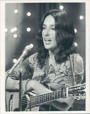 1973 Press Photo Joan Baez Playing Acoustic Guitar 1970s TV Midnight Special