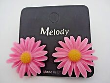 Pink daisy earrings yellow center plastic metal post