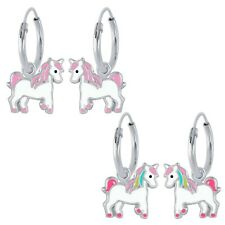 925 Sterling Silver Pink or Rainbow Mane Unicorn Hoop Huggies Earrings Girls