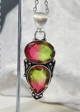 925 Sterling Silver Overlaid Faceted Bi-Colour Tourmaline Pendant with Chain