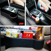 1x Universal Car Seat Gap Crevice Storage Box PU Leather Phone Holder Organizer
