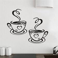 Coffee Cups Kitchen Wall Tea Sticker Vinyl Decal Art Restaurant Decor Cafe Decal
