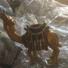 Rare Enamel Camel Bejeweled Hinged Metal Trinket Box