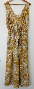Noosa Sol Sz XL Mustard Tropical Print Sleeveless Pant Jumpsuit *FREE POST*