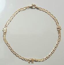 Link Gold Filled 4mm Wide # 51 Elephant Ankle Bracelet 10 inch Long Flat Mariner