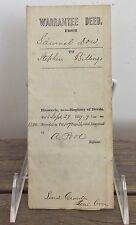 Antique 1859 Land Deed Sale Transfer Document Stephen Billings Tremont Maine