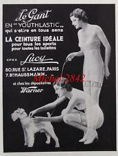 Publicité 1933 Gaine Le Gant Lucy pin up sexy chien mode