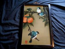 ANTIQUE ASIAN CHINESE REVERSE GLASS PAINTING ON GLASS PERSIMMON TREE WITH BIRDS