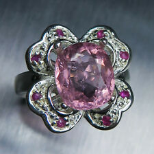 3.55cts Natural Pink tourmaline & rubies 925 Sterling Silver floral ring