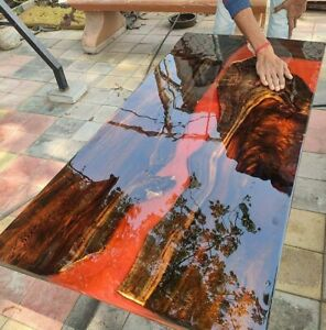 "Epoxy resin Dining Table Top in Teak Wood ""48x24x2.5inch"" (Table Top only)"