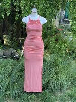 NWT $69 JESSICA SIMPSON Coral White Striped Tessanne Crochet Trim Maxi Dress S