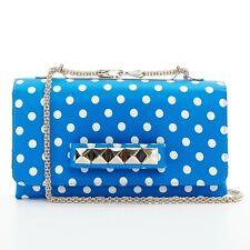 limited VALENTINO Va Va Voom blue polka dot satin rockstud chain shoulder bag