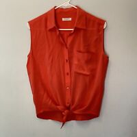 equipment femme tank top size small silk womens tie knot front buttons pocket
