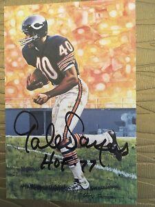 Gale Sayers Chicago Bears HOF Goal Line Art Card Beckett COA