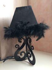 Lampe de chevet | Noire plume baroque arabesque métal
