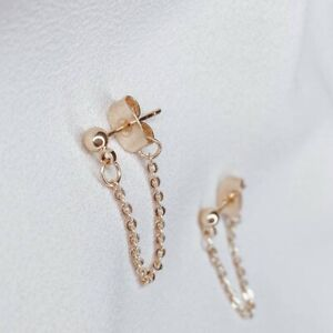 Hand Crafted 18K Gold Vermeil Dangling Chain Stud Earrings by Freyja