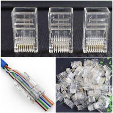 100x geschirmt vergoldet RJ45 Cat5 Cat5e MODULAR-STECKER Netzwerk Verbinder 8P8C