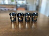 4 Jack Daniels Old No. 7 Brand Black Shot Glass Whiskey Daniel's gold lettering