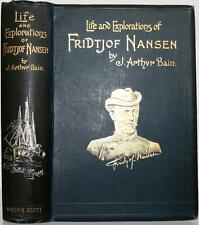 RARE 1897 LIFE AND EXPLORATIONS OF FRIDTJOF NANSEN ILLUSTRATIONS MAP NEAR FINE