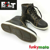 BOLT MBW BIKERS CASUAL BOOTS 100% COW LEATHER WATERPROOF VINTAGE BROWN SHOES