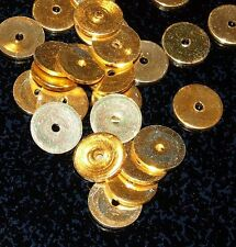 Gold Plated Roundels Flat Spacers Beads 10mm dia. vtg 25 PCS